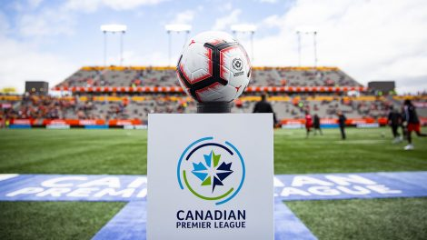 Soccer-Canadian-Premier-League-ball-sits-on-pedestal