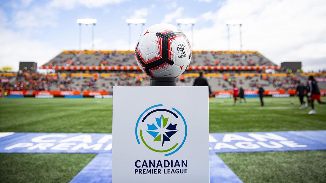 Soccer-Canadian-Premier-League-ball-sits-on-pedestal