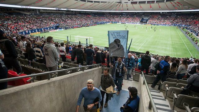Soccer-MLS-Whitecaps-fans-leave-seats