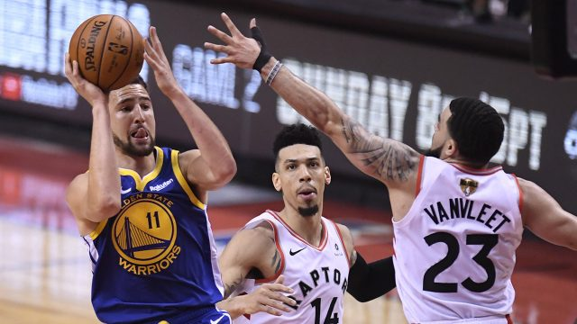 Fred-VanVleet-defends-Klay-Thompson-in-Game-1-of-the-2019-NBA-Finals