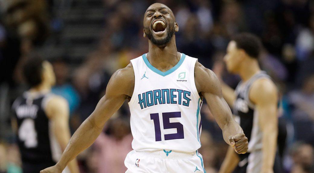 NBA-Hornets-Walker-celebrates-after-scoring