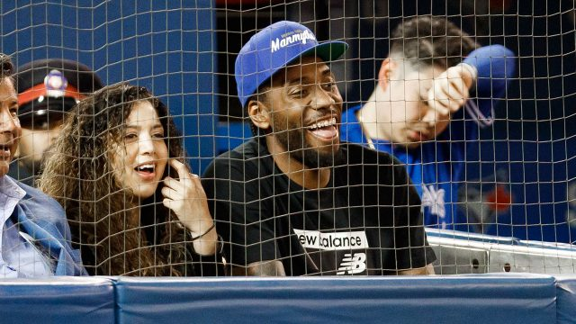 NBA-Raptors-Leonard-sits-at-Blue-Jays-game