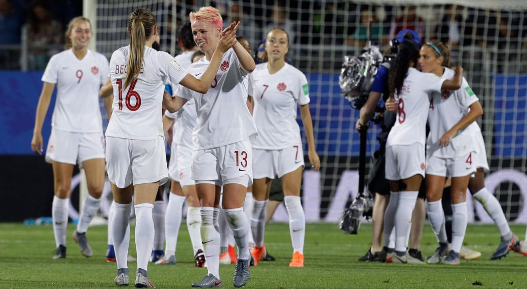Soccer-Canada-celebrates-after-women's-world-cup-win-over-france