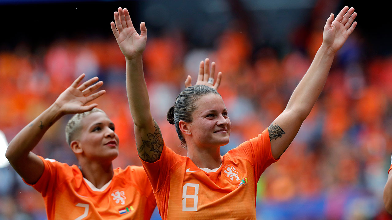 Soccer-Netherlands-celebrates-goal-at-women's-world-cup