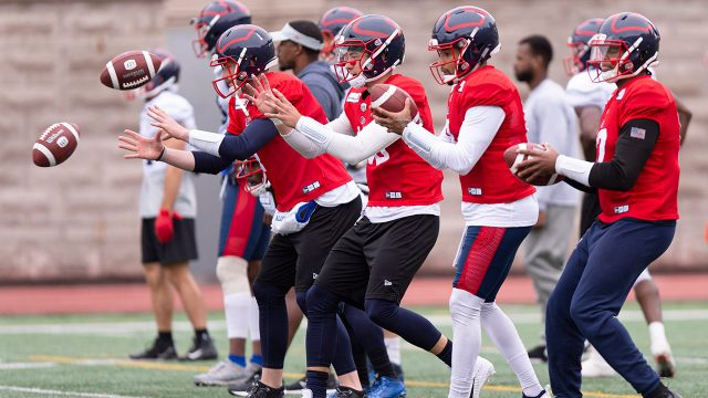 alouettes-quarterbacks-practice-during-training-camp