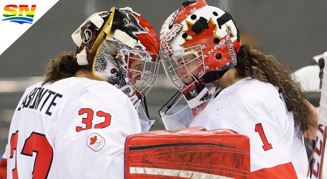 Charline-Labonté,-left,-celebrates-a-win-at-the-2014-Olympics-in-Sochi,-Russia