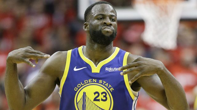 Golden-State-Warriors-forward-Draymond-Green-reacts-after-making-a-three-point-basket-during-the-second-half-of-Game-3-of-a-second-round-NBA-basketball-playoff-series-against-the-Houston-Rockets,-Saturday,-May-4,-2019,-in-Houston.-(Eric-Christian-Smith/AP)
