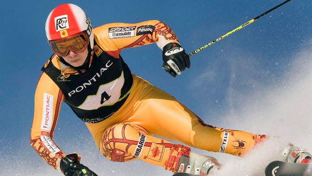 Olympics-skier-skis-down-hill