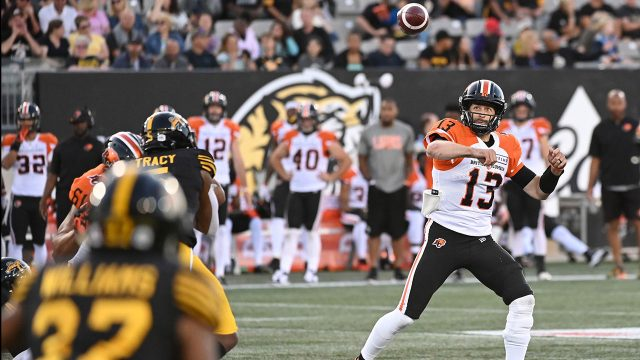 CFL-Lions-Reilly-throws-against-Tiger-Cats