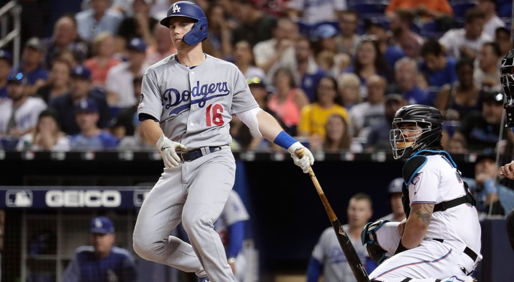 MLB-Dodgers-Will-Smith-watches-home-run