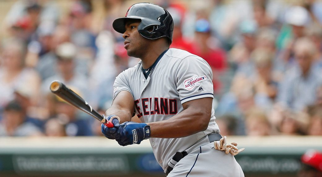 MLB-Indians-Puig-hits-double