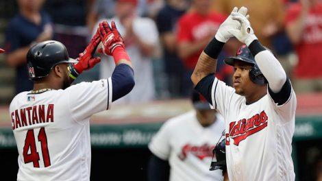 MLB-Indians-Ramirez-congratulates-Santana