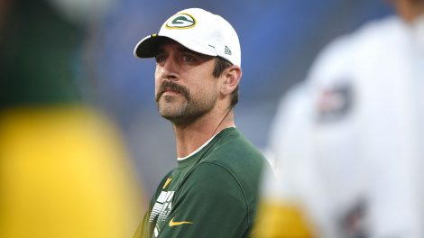NFL-Packers-Rodgers-looks-on-from-sideline