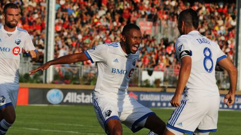 Soccer-MLS-Impact-celebrate-goal-in-canadian-championship