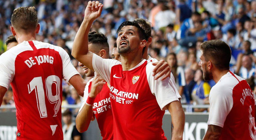 Soccer-Sevilla-celebrates-goal