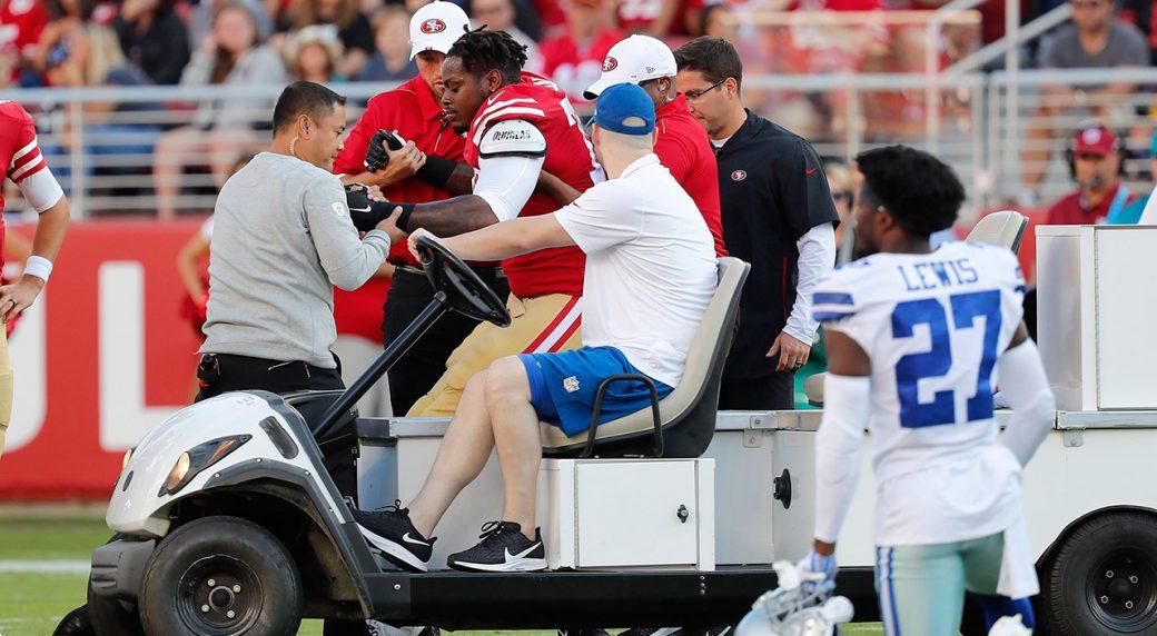 low priced 99648 5e313 49ers lose backup OL Shon Coleman to serious leg injury ...