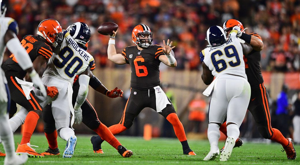 browns-baker-mayfield-throws-against-rams