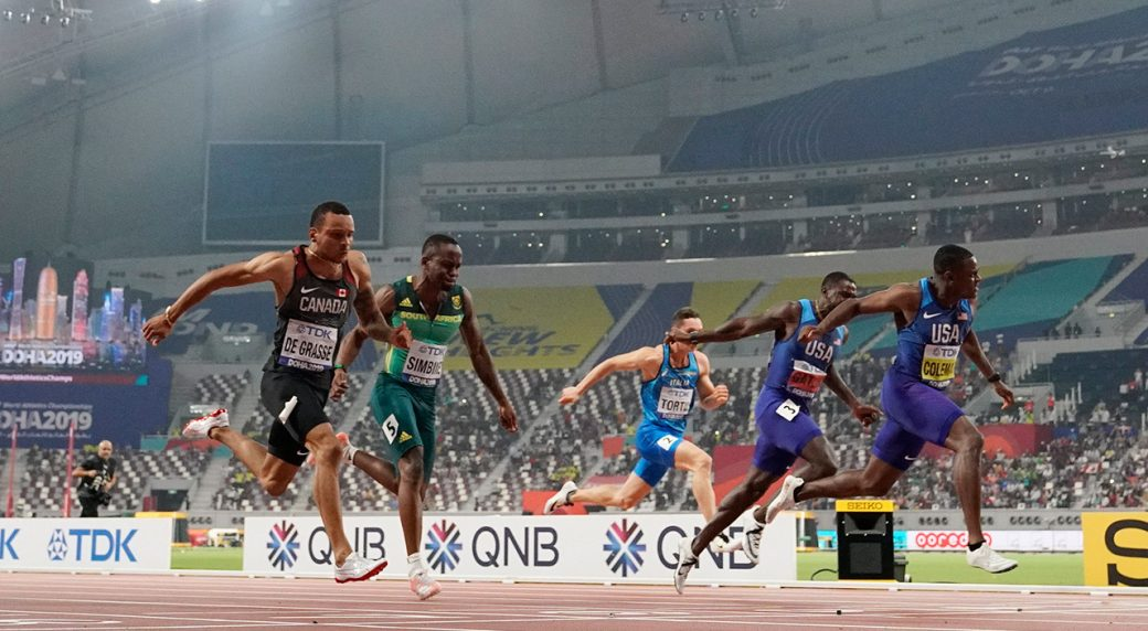 canadas-andre-de-grasse-finishes-third-in-100-metres-behind-usas-christian-coleman-and-justin-gaitlin