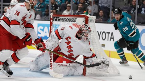 hurricanes-james-reimer-blocks-shot-against-sharks