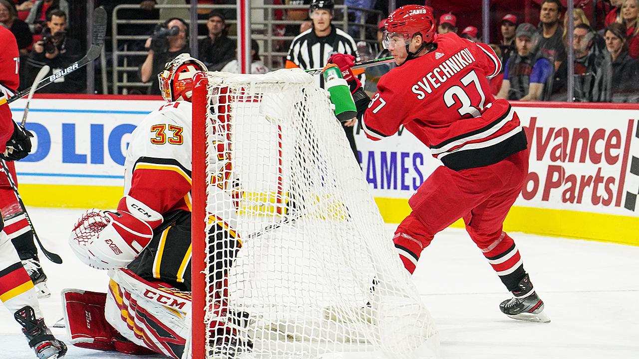 Andrei-Svechnikov;-Lacrosse-goal;-Carolina-Hurricanes;-Calgary-Flames