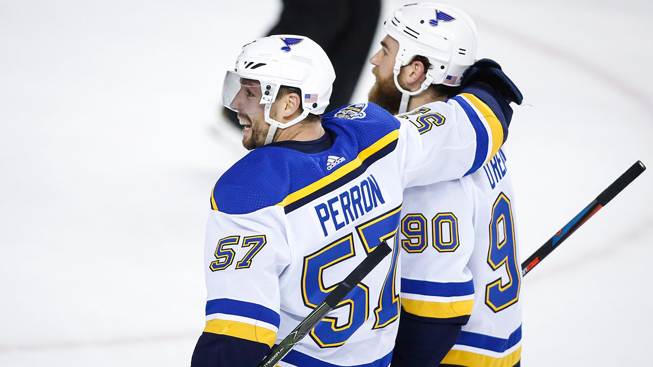 Second place Blues win their seventh in a row over the Flames