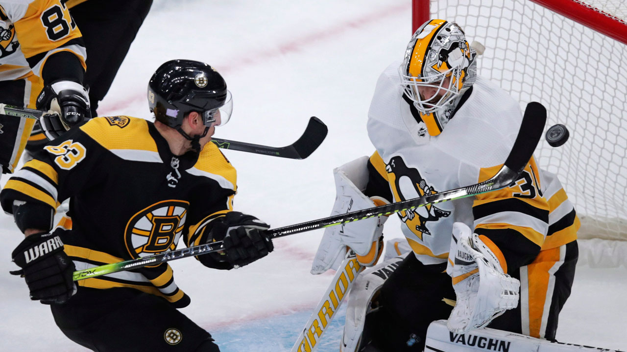 Streaking Marchand tallies a handful of points in comeback win over Pens