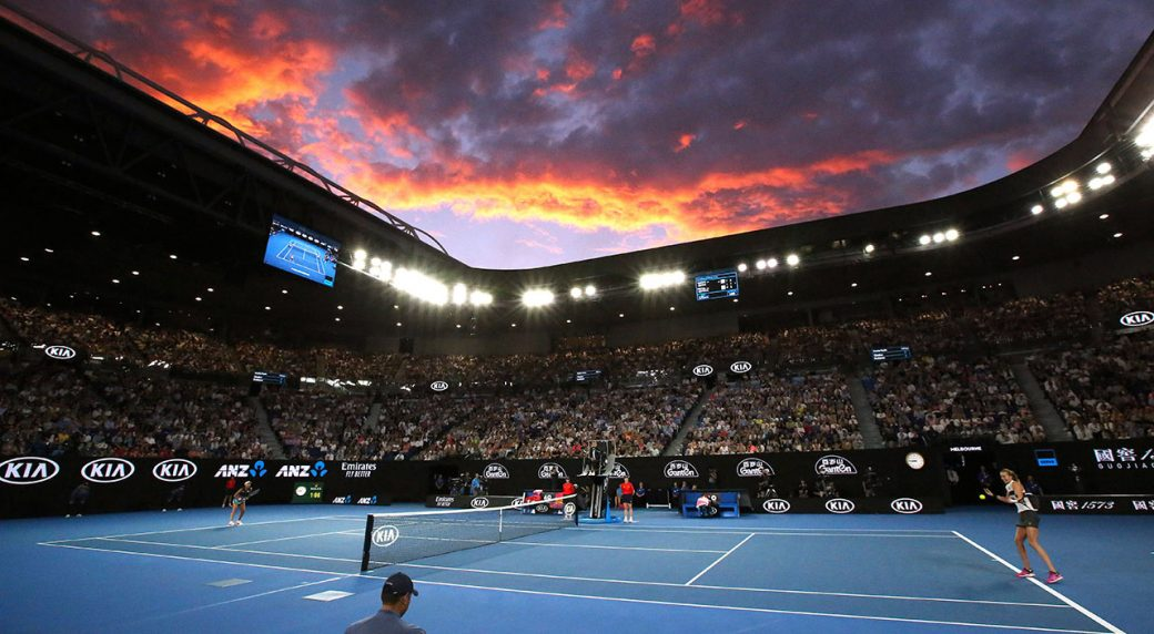 72 players in lockdown ahead of Australian Open after virus cases on flights The sun sets behind Melbourne Park