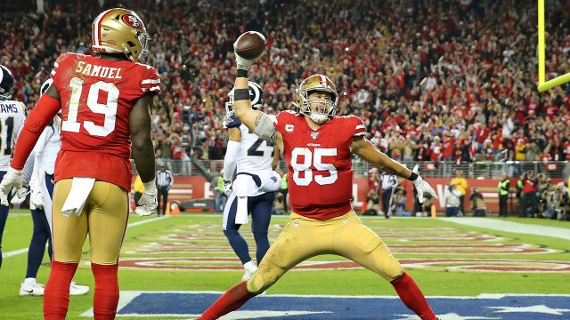 49ers-george-kittle-celebrates-touchdown-against-rams