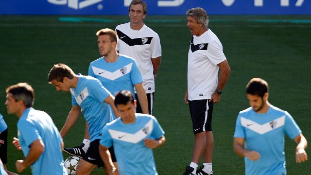 CF-Malaga-players-during-a-training-session-(Sergio-Torres/AP)