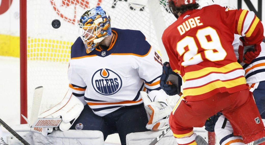 Elias Lindholm Scores Two Flames Beat Oilers To Move Atop Pacific Sportsnet Ca