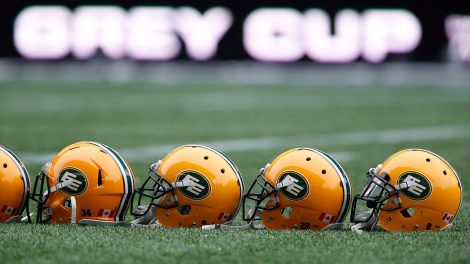 edmonton-eskimos-helmets-on-a-football-field