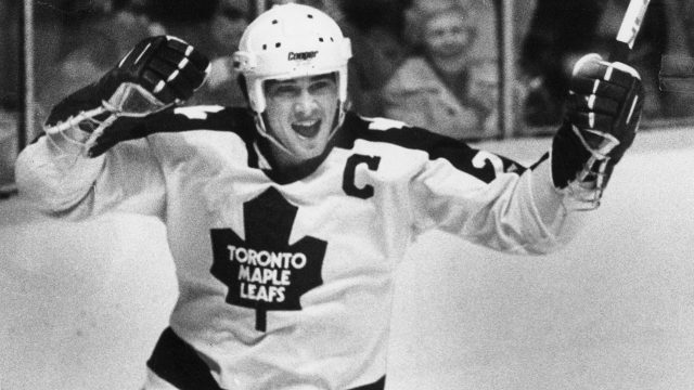 Toronto-Maple-Leafs-captain-Rick-Vaive's-reaction-to-scoring-his-historic-50th-goal-of-the-season-on-March-24,-1982