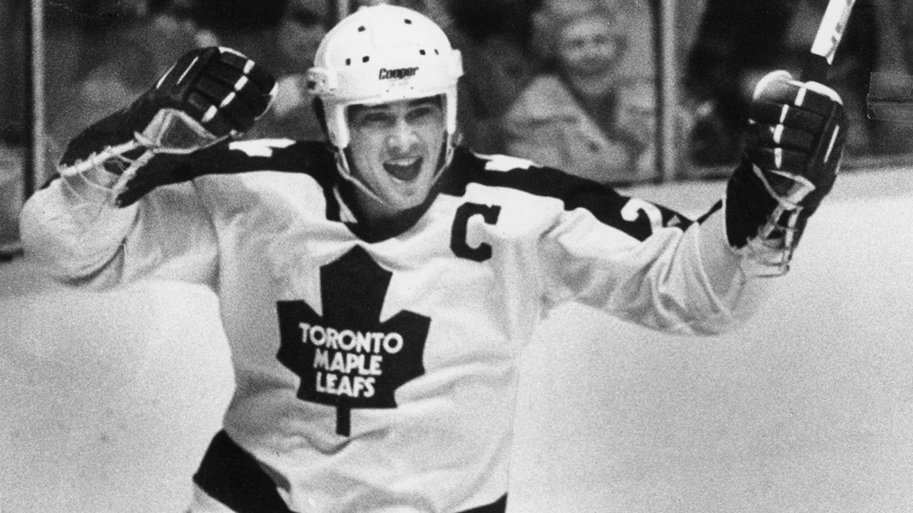 Toronto Maple Leafs captain Rick Vaive's reaction to scoring his historic 50th goal of the season on March 24, 1982