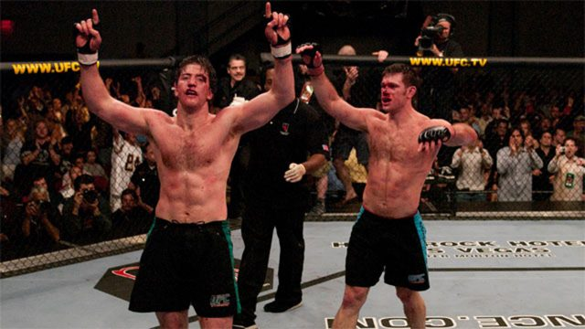 Stephan-Bonnar-and-Forrest-Griffin-react-after-their-historic-three-round-UFC-fight-during-the-Ultimate-Fighter-Season-1-Finale-at-the-Cox-Pavilion-in-Las-Vegas