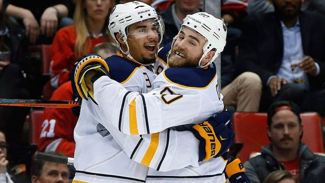 Evander-Kane-celebrates-a-goal-with-Ryan-O'Reilly-in-2015-when-the-two-forwards-were-with-the-Buffalo-Sabres