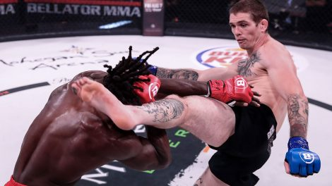 Jordan-Mein-kicks-Jason-Jackson-in-Bellator-MMA-welterweight-action