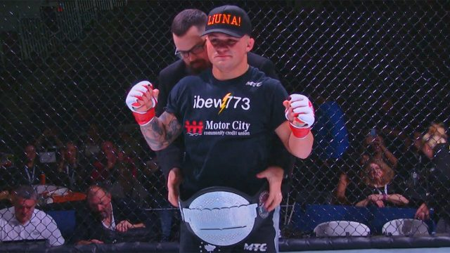 Canadian-featherweight-TJ-Laramie-celebrates-win-in-Prospect-Fighting-Championships