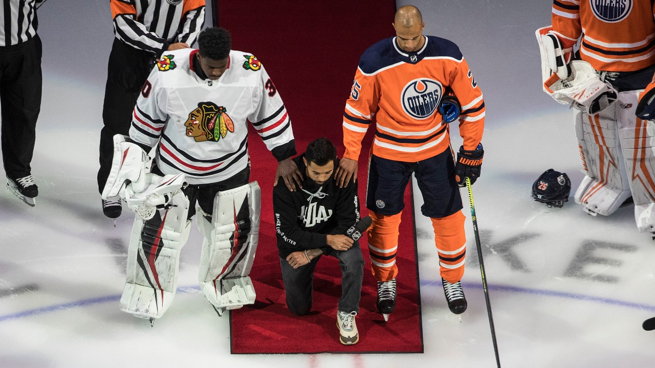 Matt Dumba makes speech condemning racism, kneels for U.S national anthem