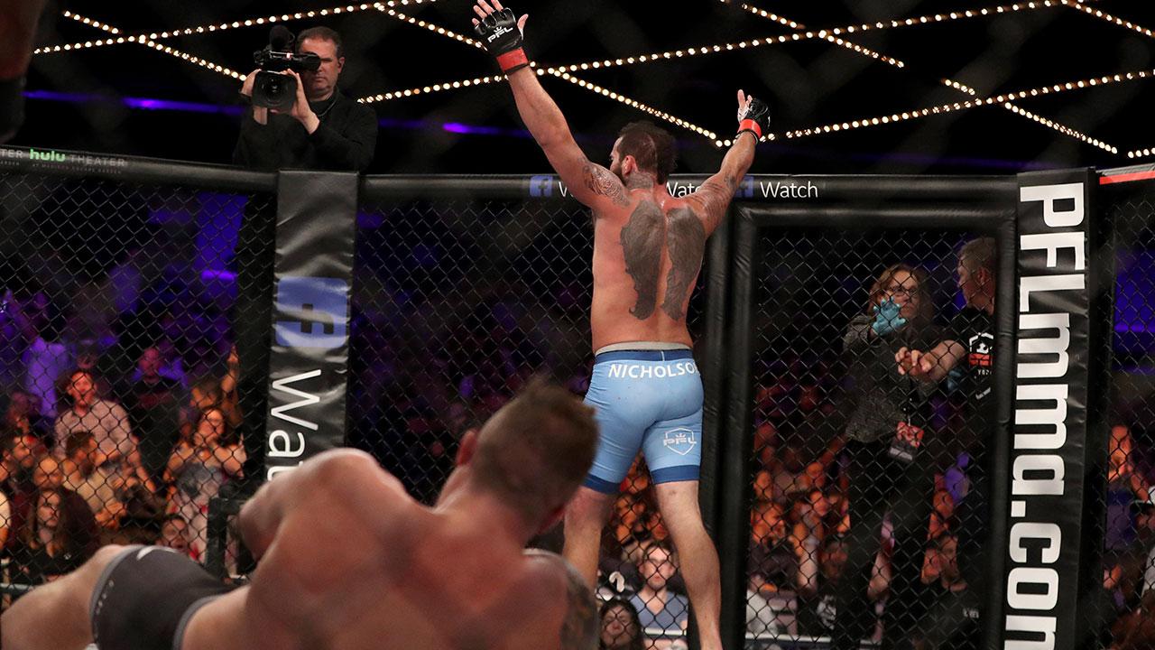 Alex-Nicholson-celebrates-a-KO-against-Jake-Heun-in-Professional-Fighters-League
