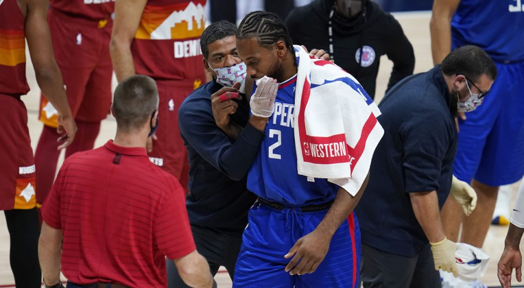 Kawhi Leonard gets stitches after taking elbow to face, Clippers beat Nuggets