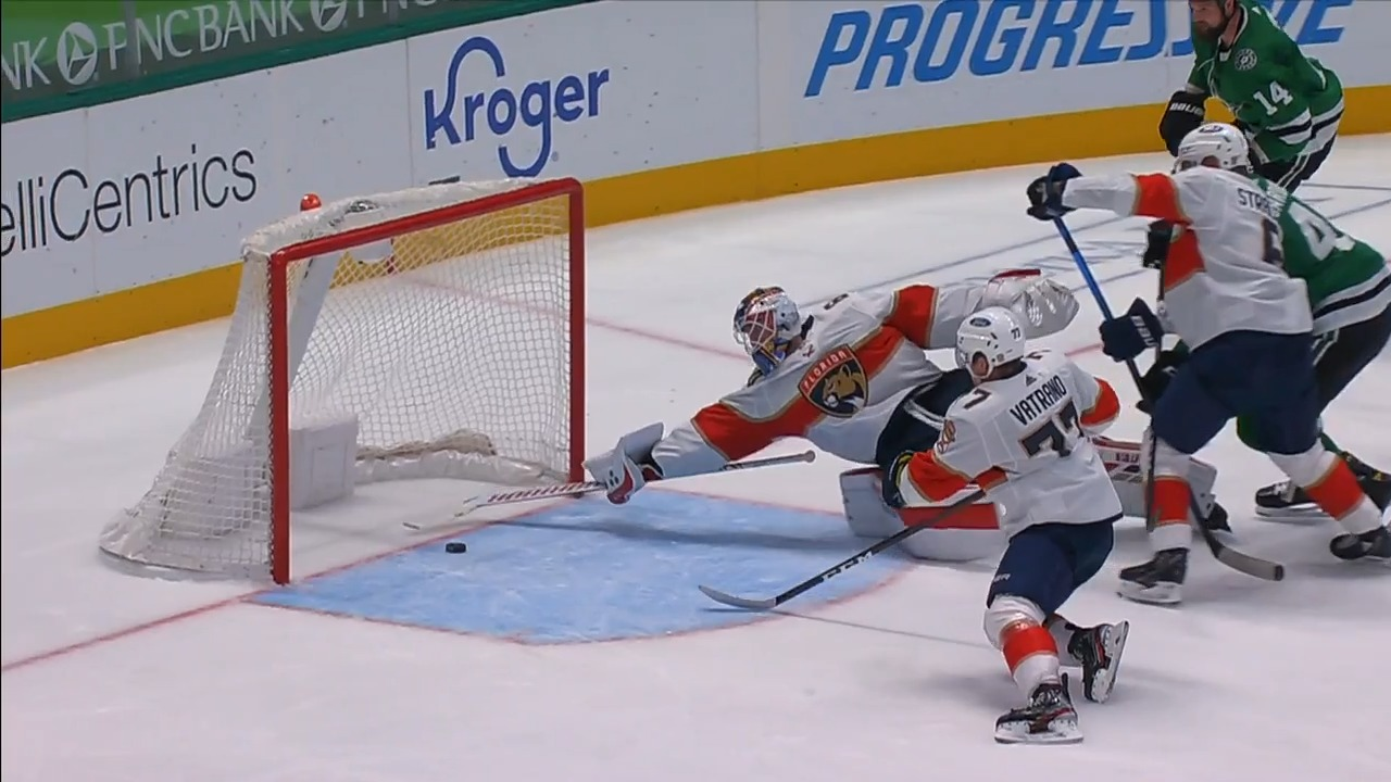 Panthers' Chris Driedger pulls puck off goal line with paddle to stun Stars