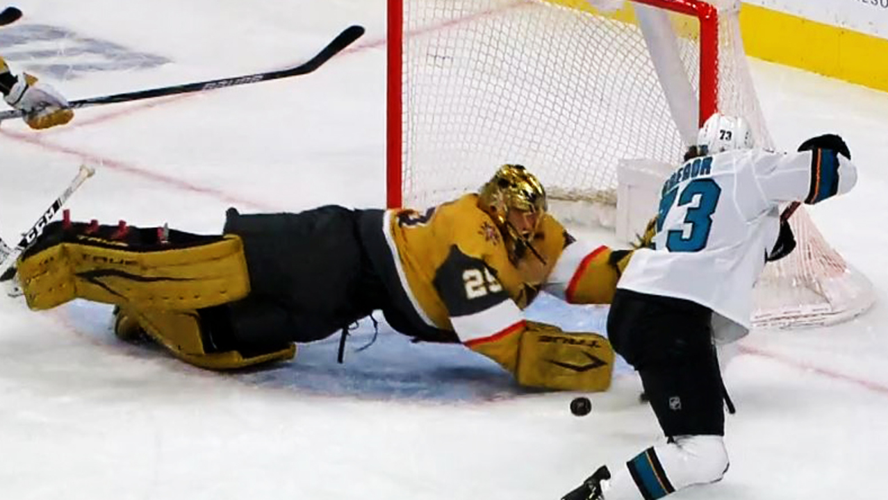 Fleury scrambles and dives to rob Gregor on open net chance