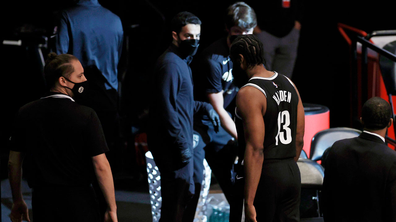 Nets' James Harden leaves Game 1 against Bucks with hamstring injury