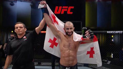 UFC-featherweight-Giga-Chikadze-reacts-following-a-win