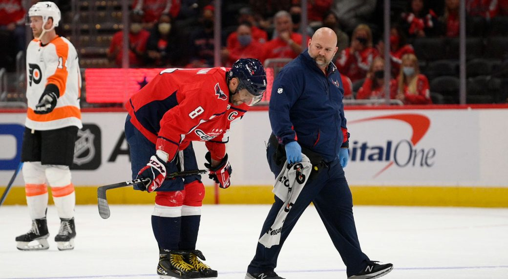 Capitals' Ovechkin leaves game vs. Flyers with lower-body injury